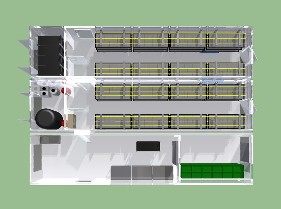 Processing unit with two growing pods